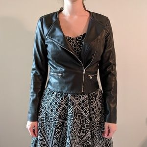 Zara fitted sleek faux leather jacket
